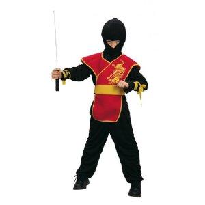 Ninja schwarz-rot Faschingskostüme für Kinder