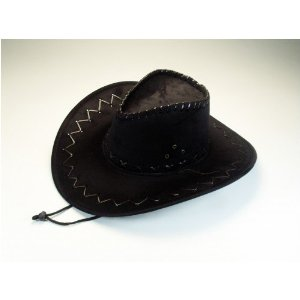 Cowboyhut braun/schwarz Wildlederimitat Neu Karneval Fasching