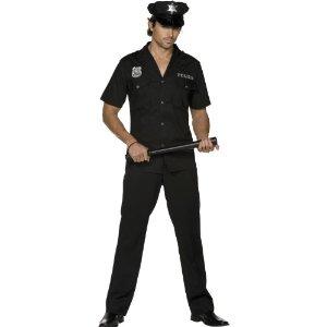 Polizistenkostüm Kostüm Polizist Polizei US Cop USA in schwarz Uniform für Herren