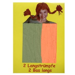Lange Strümpfe, grün / orange, 1 Paar
